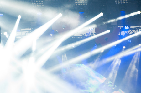 Stage Lights. Bright spotlight on stage. Many rays of searchlights shine in one area. Musical event