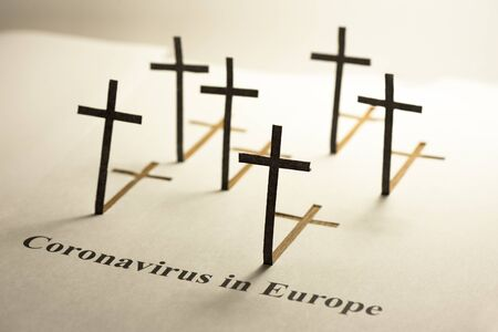 Black grave crosses. Text
