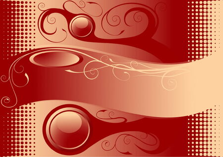Beautiful red background with floral elements Illustration