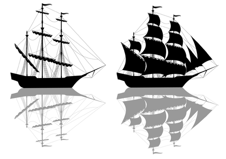 Two black old ships isolated on white Illustration