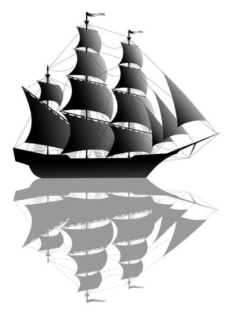 vecchia nave: Nero vecchia nave isolata su bianco  Vettoriali