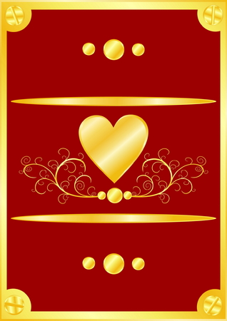 Beautiful gold frame with heart on red background Vector