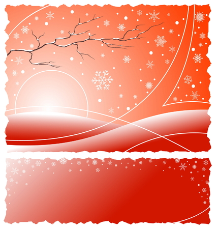 Abstract red winter illustration with white snowflakes, branch and place for text Stock Vector - 3007787