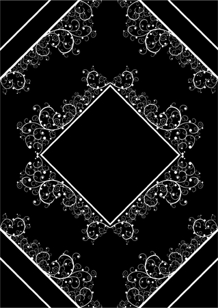 White beautiful floral frame isolated on black Vector