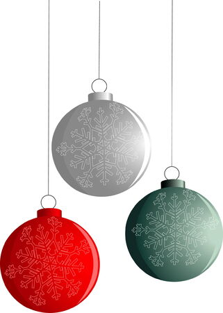 newyear: Tres A�o Nuevo-rojo, verde y plata bolas aisladas en blanco