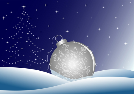 Night winter background with ball and stars in shape of tree Vector