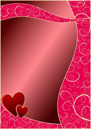 Red Valentines Day background with floral elements Vector