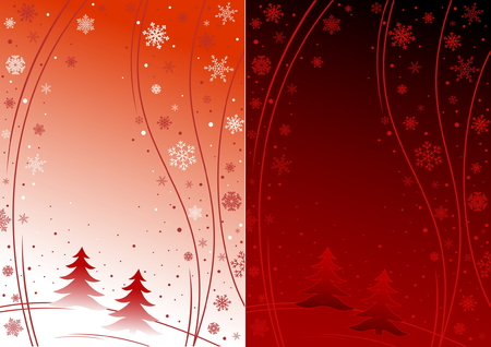Abstract winter illustration in red color with white and red snowflakes and trees. Two versins of illustration - light and dark. Vector
