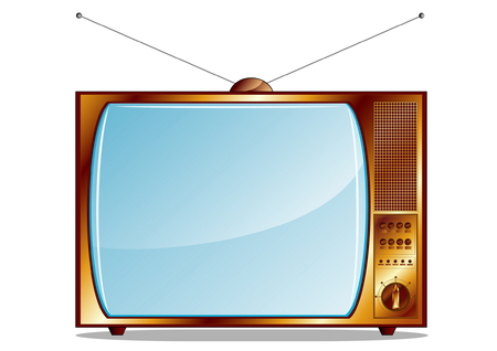 watching television: Gold retro TV isolated on white  Illustration