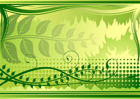 Green summer background with plants  Vector