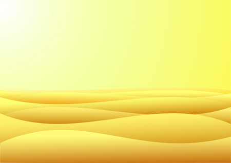 barren: Warm day in barren desert with yellow sand and sky
