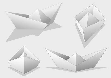 Four white isolated paper ships  Vector
