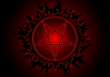 Black and red pentagram in circle with fire Illustration