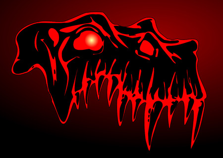Skull of demon - traced image isolated on dark background Vector