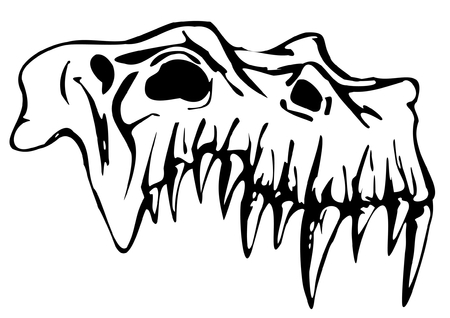 fangs: Skull of demon - traced image isolated on white