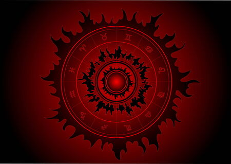 Black star with zodiac signs in it Vector