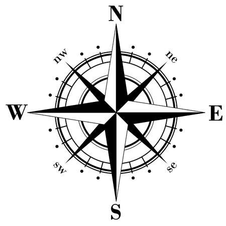 rose: Black compass rose  isolated on whte