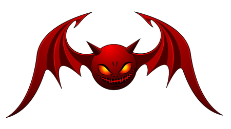 cartoon devil: Red Evil Bat - isolated on white