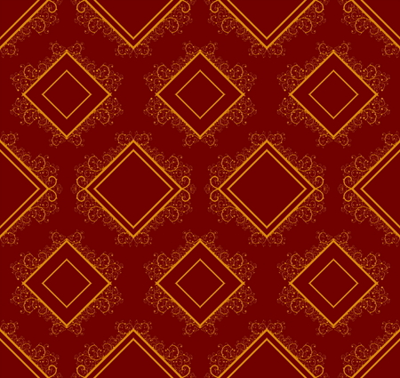 Red seamless background with squares and floral elements Vector