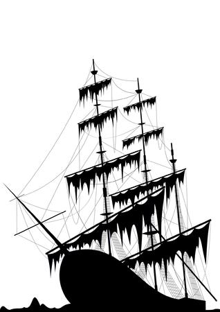 barco pirata: Negro viejo buque en el mar de tierra aislado en blanco  Vectores