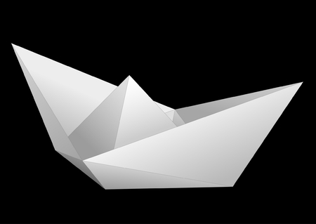 White paper ship isolated on black background Vector