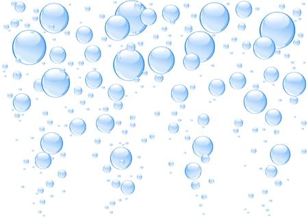 saubere luft: Blue sch�ne Blasen isoliert auf wei�em Hintergrund Illustration