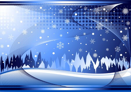 Blue winter background with waves and snowflakes Stock Vector - 3658823