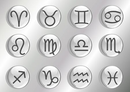 12 grey zodiac icons in the shape of spheres  Vector