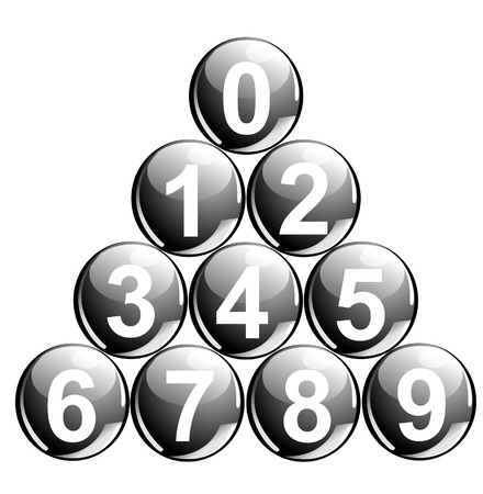 10 black balls with numbers in the shape of pyramid Vector