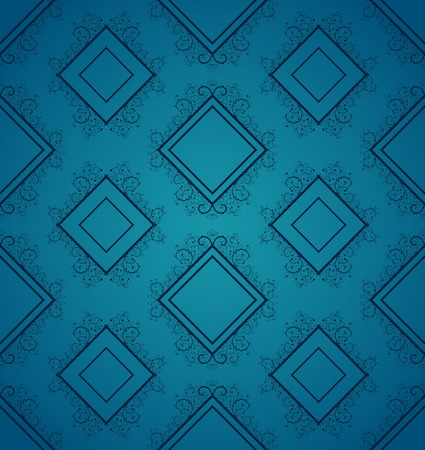 Blue seamless background with squares and floral elements Vector