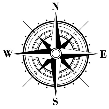 Black compass rose  isolated on whte Stock Vector - 3845219