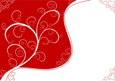 Valentines Day background with plant and hearts Vector