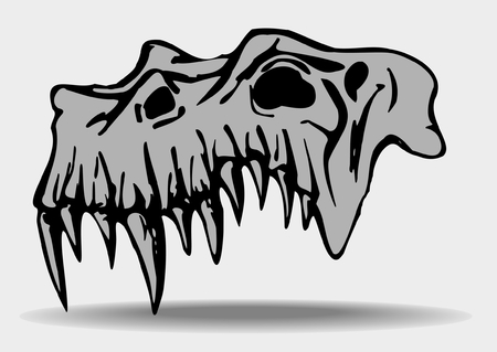 traced: Skull of demon - traced image isolated on white