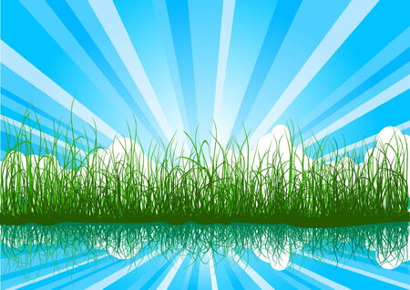 Beautiful summer background with grass, water and sunbeams Vector