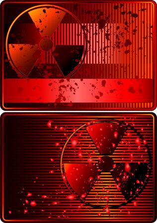 radioactive sign: Juego de cartas con el signo radiactivos Vectores
