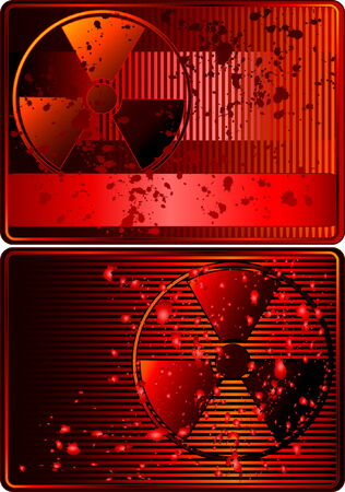 Set of cards with radioactive sign Stock Vector - 4069524