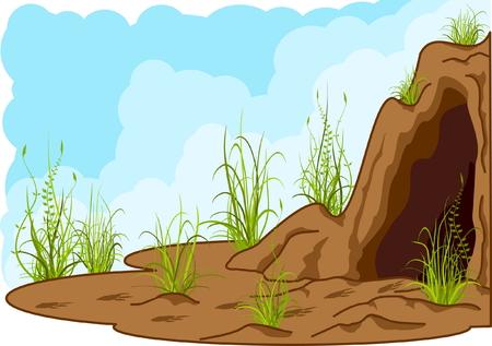 jaskinia: krajobraz z jaskini, trawa i Śladami kogoś.
