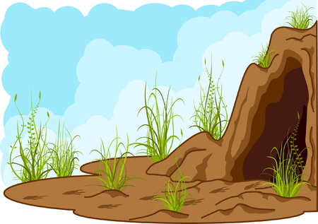 landscape with cave, grass and tracks of smb. Stock Vector - 4069520