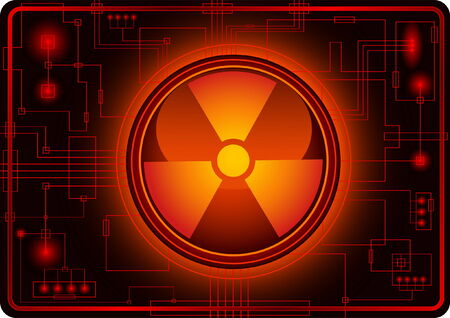 Button with Nuclear sign Stock Vector - 4069518