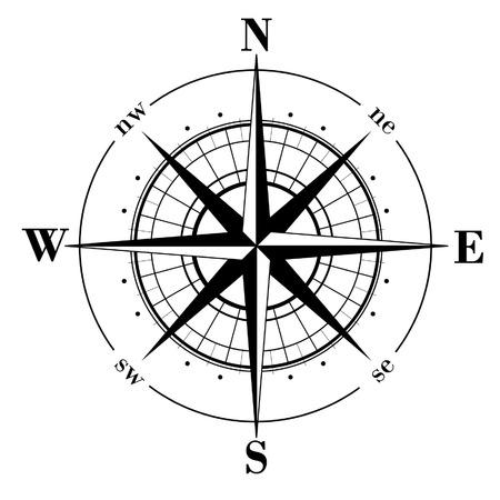 kompassrose: Black Kompassrose isolated on whte