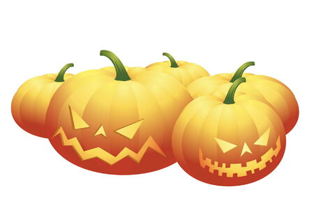 halloween pumpkins - isolated on white Vector