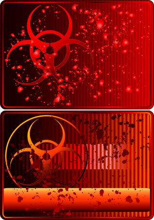 biological warfare: Set of cards with biohazard sign and blood