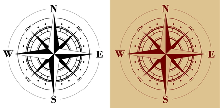 Black compass rose  isolated on whte Stock Vector - 4106856