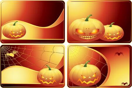 Set of Halloween cards  Vector