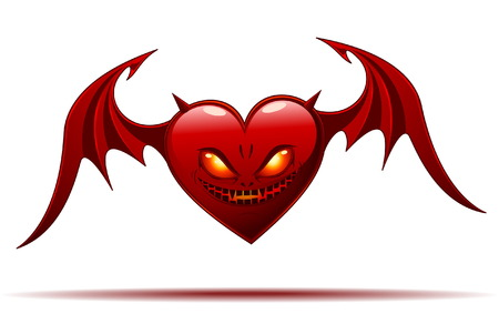 Red Evil Heart with Wings - isolated on white Illustration