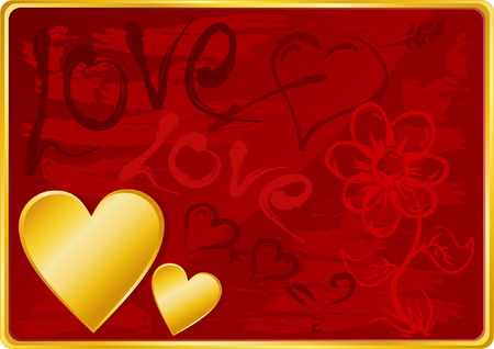 Beautiful Valentines Day Background with Gold Heart and Handdrawing Symbols Vector