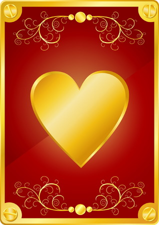 Beautiful Valentines Day Background with Gold Heart and Screws Vector