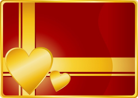 Beautiful Valentines Day Card with Gold Heart  Vector