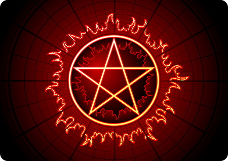 lucifer: Fire Pentagram with grid on dark background