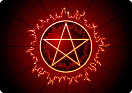 pentacle: Fuoco Pentagram con griglia su sfondo scuro Vettoriali